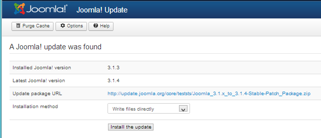 Joomla Update Run