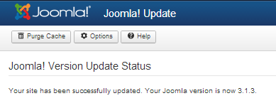 Joomla Update Run Complete