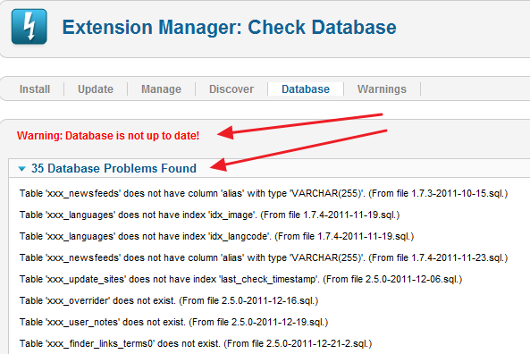 Joomla Update Database