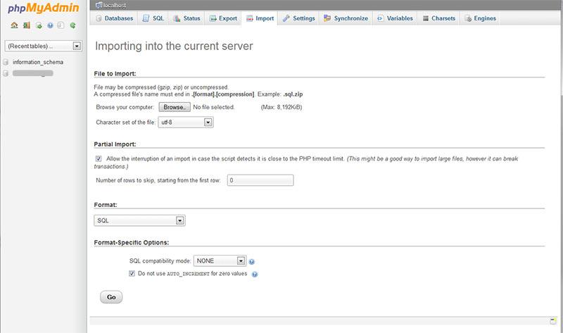importing databases using phpmyadmin